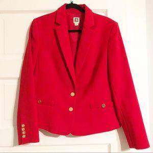 Anne Klein Lipstick Red, Gold-Button EUC Blazer